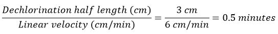 Dechlorination performance equation
